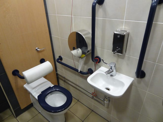 safety grab bars in the bathroom