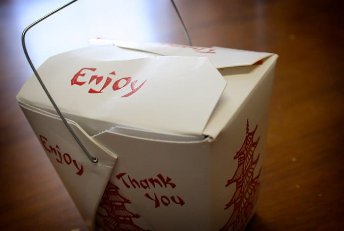 Chinese take out container with metal
