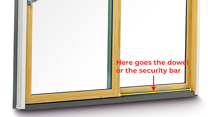 Locking a sliding glass door with a security bar